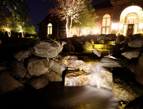 Landscape lighting with custom water feature